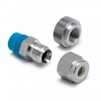 "Auto Meter - Auto Meter Pyrometer Probe Fitting - 0.25"" Compression To 1/8"" NPT Connector Fitting and Mating 1/8"" NPT Weld Fitting"