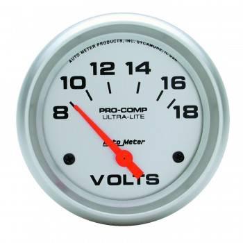 "Auto Meter - Auto Meter Ultra-Lite Electric Voltmeter Gauge - 2-5/8"" - 8-18 Volts"