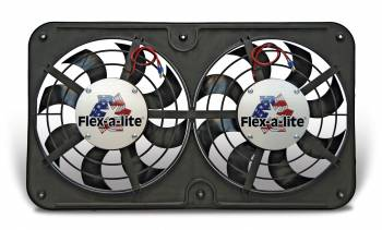 "Flex-A-Lite - Flex-A-Lite Dual 12-1/8"" Lo-Profile S-Blade Electric Fan w/ Adjustable Thermostat Controller"