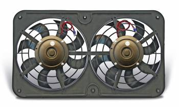 "Flex-A-Lite - Flex-A-Lite Dual 12-1/8"" Lo-Profile S-Blade Electric Pusher Fan w/ Adjustable Thermostat Controller"