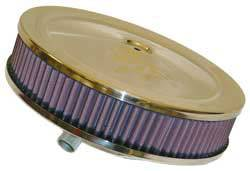 "K&N Filters - K&N Air Cleaner Assembly - Raised Base - Polished Stainless - 9"" x 3-3/8"" - 5-1/8"" Carb Flange"