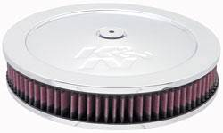 "K&N Filters - K&N Air Cleaner Assembly - Raised Base - Polished Stainless - 11"" x 3-1/8"" - 5-1/8"" Carb Flange"