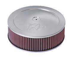 "K&N Filters - K&N Air Cleaner Assembly - Raised Base - Chrome - 11"" x 4-3/4"" - 5-1/8"" Carb Flange"