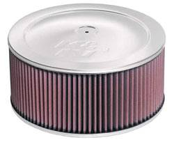"K&N Filters - K&N Air Cleaner Assembly - Raised Base - Chrome - 11"" x 6"" - 5-1/8"" Carb Flange"