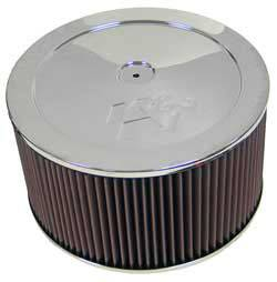 "K&N Filters - K&N Air Cleaner Assembly - Raised Base - Chrome - 11"" x 7"" - 5-1/8"" Carb Flange"