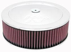 "K&N Filters - K&N Air Cleaner Assembly - Raised Base - Chrome - 14"" x 4-1/2"" - 7-5/16"" Carb Flange"