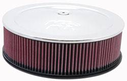 "K&N Filters - K&N Air Cleaner Assembly - Raised Base - Chrome - 14"" x 5-1/2"" - 7-5/16"" Carb Flange"