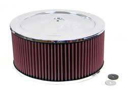 "K&N Filters - K&N Air Cleaner Assembly - Raised Base - Chrome - 14"" x 7"" - 7-5/16"" Carb Flange"