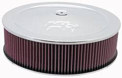 "K&N Filters - K&N Air Cleaner Assembly - Drop Base - Chrome - 14"" x 3-7/8"" - 5-1/8"" Carb Flange"