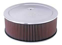 "K&N Filters - K&N Air Cleaner Assembly - Raised Base - Chrome - 14"" x 6-5/8"" - 5-1/8"" Carb Flange"