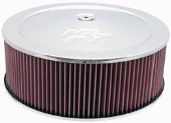 "K&N Filters - K&N Air Cleaner Assembly - Drop Base - Chrome - 14"" x 4-3/4"" - 5-1/8"" Carb Flange"