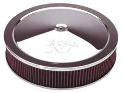 """K&N Filters - K&N Air Cleaner Assembly - Drop Base - Chrome - 16"""" x 3-1/4"""" - 7-5/16"""" Carb Flange"""
