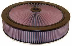 "K&N Filters - K&N XStream® Top Air Cleaner Assembly - Raised Base - Black Powder Coat - 14"" x 4-5/8"" - 5-1/8"" Carb Flange"