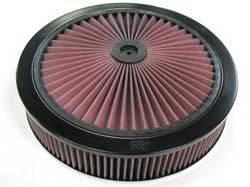 "K&N Filters - K&N XStream® Top Air Cleaner Assembly - Drop Base - Black Powder Coat - 14"" x 2-3/4"" - 5-1/8"" Carb Flange"