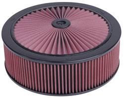 "K&N Filters - K&N XStream® Top Air Cleaner Assembly - Drop Base - Black Powder Coat - 14"" x 4-3/4"" - 5-1/8"" Carb Flange"