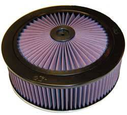 "K&N Filters - K&N XStream® Top Air Cleaner Assembly - Raised Base - Black Powder Coat - 11"" x 4-3/4"" - 5-1/8"" Carb Flange"