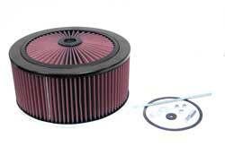 "K&N Filters - K&N XStream® Top Air Cleaner Assembly - Raised Base - Black Powder Coat - 11"" x 6-1/4"" - 5-1/8"" Carb Flange"