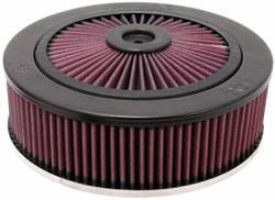 "K&N Filters - K&N XStream® Top Air Cleaner Assembly - Raised Base - Black Powder Coat - 9"" x 4-1/2"" - 5-1/8"" Carb Flange"