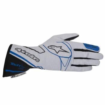 Alpinestars 2017 Tech 1-Z Auto Racing Glove - Silver/Black/Blue - 3550217-1091