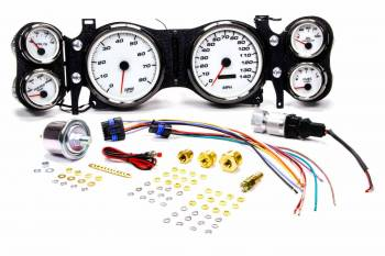 New Vintage USA - New Vintage USA Performance Gauge Kit Analog Fuel Level/Oil Pressure/Speedometer/Tachometer/Voltmeter/Water Temperature White Face - GM F-Body 1970-78