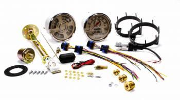 New Vintage USA - New Vintage USA Woodward Gauge Kit Analog Fuel Level/Oil Pressure/Speedometer/Tachometer/Voltmeter/Water Temperature Beige Face - Kit