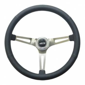 "GT Performance - GT Performance GT Retro Steering Wheel 15"" Diameter 3-Spoke 4-5/8"" Dish - Black Leather Grip"