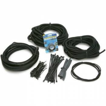 Painless Performance Products - Painless Performance Products PowerBraid Hose and Wire Sleeve Split Ties Included Braided Plastic - Black