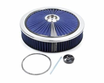 "Edelbrock - Edelbrock Pro-Flo Air Cleaner Assembly 14"" Round 3"" Tall 5-1/8"" Carb Flange - Blue Cotton"