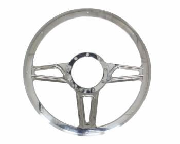 """Billet Specialties - Billet Specialties Standard Steering Wheel Interceptor 14"""" Diameter 3-Spoke - Milled Finger Notches"""