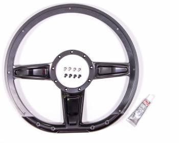 """Billet Specialties - Billet Specialties Camber Steering Wheel 14"""" Diameter D-Shaped 3-Spoke - Milled Finger Notches"""