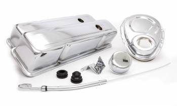 Racing Power - Racing Power Tall Valve Covers/Breather/Dipstick/Grommets/Timing Cover/Timing Tab Engine Dress Up Kit Steel Chrome Small Block Chevy - Kit