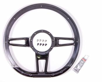 "Billet Specialties - Billet Specialties Formula Steering Wheel 14"" Diameter D-Shaped 3-Spoke - Milled Finger Notches - Billet Aluminum - Black Anodize"