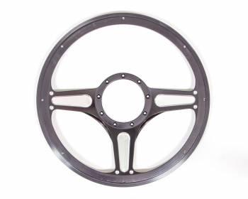 "Billet Specialties - Billet Specialties Standard Steering Wheel Street Lite 14"" Diameter 3-Spoke - Milled Finger Notches"