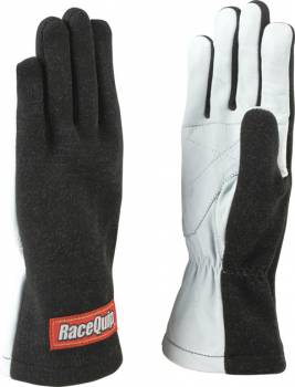 RaceQuip - RaceQuip 350 Series Gloves Driving Single Layer Nomex®/Leather - Black/White