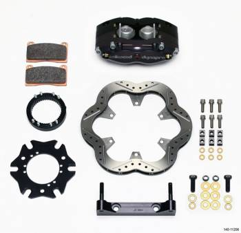 "Wilwood Engineering - Wilwood Engineering Dynalite Brake System Rear 4 Piston Caliper 10.500"" Drilled Scalloped Stainless Rotor - 3 x 46 Spline Sprint Car Hub"