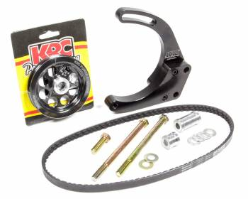 KRC Power Steering - KRC Power Steering Passenger Side Alternator Bracket Mid Mount 2 Piece Aluminum - Black Powder Coat