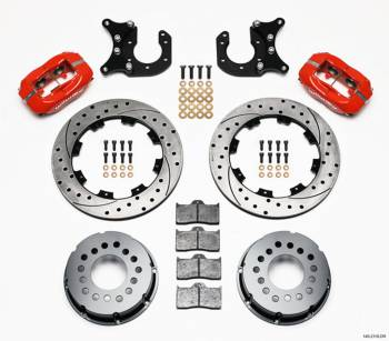"Wilwood Engineering - Wilwood Engineering Dynalite Brake System Rear 4 Piston Caliper 12"" Drilled/Slotted Iron Rotor - Offset Hat/Parking Brake"
