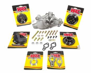 KRC Power Steering - KRC Power Steering Pro Series Pulley Kit 6 Rib Serpentine Water Pump Aluminum - Black Powder Coat