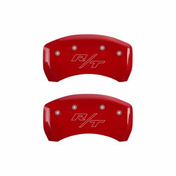 MGP Caliper Covers - Mgp Caliper Cover Charger Logo Front Brake Caliper Cover RT Logo Rear Aluminum Red - Chrysler LD-Body 2011-13