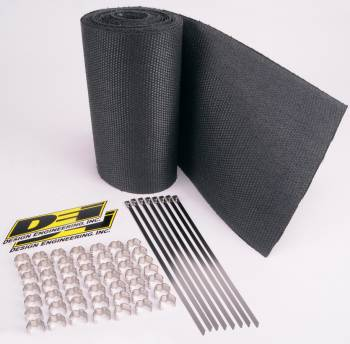 """Design Engineering - Design Engineering Speed Sleeves Exhaust Wrap 8"""" Wide 12 ft Roll Stainless Clips/Locking Ties Included - Woven Fiberglass"""