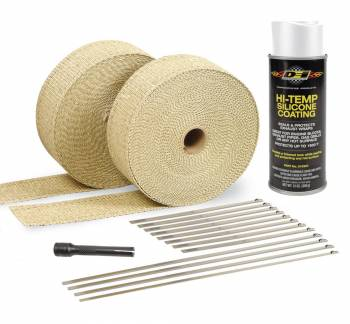 "Design Engineering - Design Engineering Automotive Exhaust Wrap Kit 2"" Wide Two 50 ft Rolls White Silicone Coating - Stainless Locking Ties"