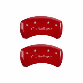 MGP Caliper Covers - Mgp Caliper Cover Classic Challenger Logo Brake Caliper Cover Aluminum Red Mopar LC-Body 2011-13 - Set of 4