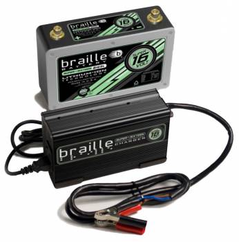 "Braille Battery - Braille Battery Super-Sixteen Battery and Charger Kit Lithium 16V 675 Cranking Amps - Top Post Screw"" Terminals"