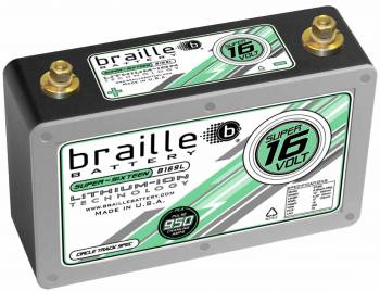 "Braille Battery - Braille Battery Super-Sixteen Battery Lithium 12 V 950 Cranking Amps - Top Post Screw"" Terminals"