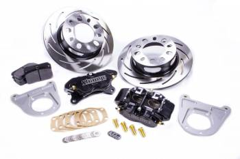 "Strange Engineering - Strange Engineering Pro Race Brake System Rear 4 Piston Caliper 11-1/4"" Slotted Iron Rotor - Offset Hat - Ford 8.8"""