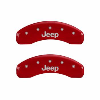 MGP Caliper Covers - Mgp Caliper Cover Jeep Script Logo Brake Caliper Cover Aluminum Red Grand Cherokee 2011-16 - Set of 4
