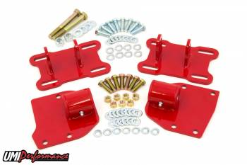 UMI Performance - UMI Performance Bolt-On Motor Mount Hardware Included Steel Red Powder Coat - GM LS-Series