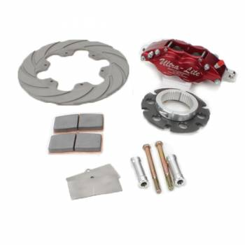 "Ultra-Lite Brakes - Ultra-Lite Brakes Feather Lite Brake System Rear 4 Piston Caliper 10.400"" Scalloped Titanium Rotor - 3 x 46 Spline Sprint Car Hub"
