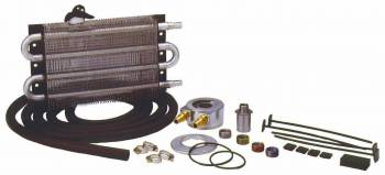 "Perma-Cool - Perma-Cool Engine Oil System Fluid Cooler 12-1/2 x 7-1/2 x 3/4"" Tube Type 1/2"" Barb Inlet/Outlet - Adapter/Brackets/Hose"