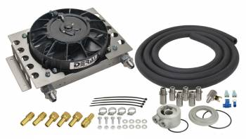 "Derale Performance - Derale Performance 12-3/4 x 9-3/8 x 4-5/16"" Fluid Cooler and Fan Plate Type 8 AN Male O-Ring Inlet/Outlet Fittings - Aluminum"